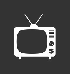 tv icon in flat style isolated on black vector image