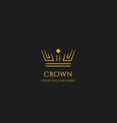 unique gold crown logo icon in double line strip vector image