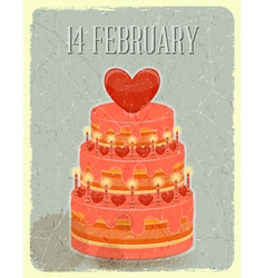 Valentines Cake on Grunge Background vector image
