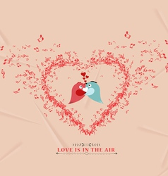 Valentines day music elementsand couple bird vector image