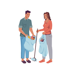 volunteers man and woman pick up litter into bag vector image