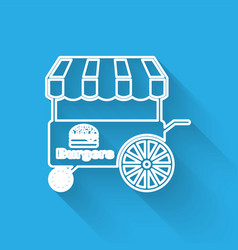 White fast street food cart with awning line icon vector