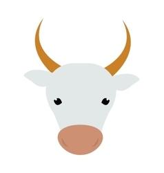 White silhouette cow head farm animal beef vector