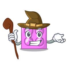 Witch toy brick mascot cartoon vector