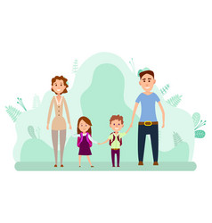 young couple with two little kids walking vector image