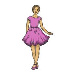 young woman in summer dress line art sketch vector image