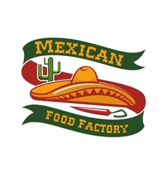Mexican food restaurant sombrero hat icon vector