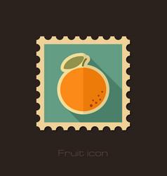 orange flat stamp tropical fruit vector image