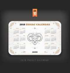 aries 2018 year zodiac calendar pocket size vector image