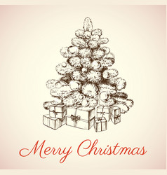 hand drawn christmas tree vector image vector image