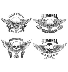 outlaw street warriors set of winged skulls with vector image vector image
