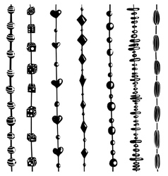 String of Beads Set Black and White vector image