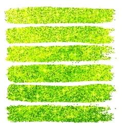 Green glitter brush strokes set isolated at white vector