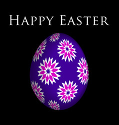 greeting card colored flowers on easter egg vector image