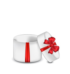 Open gift box with red bow isolated on white vector image vector image