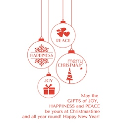 Red Christmas card with hanging ornaments vector image vector image