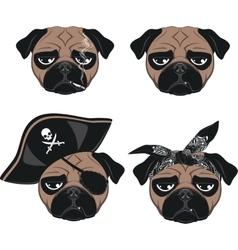 Set of funny pug vector image vector image