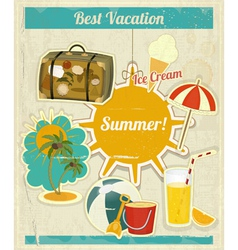 Summer vacation card in vintage retro style vector