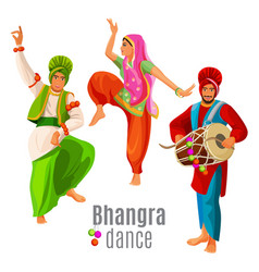 bhangra dance concept men and woman in national vector image vector image