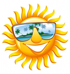 cheerful sun in sunglasses vector image vector image