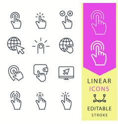 click - line icon set editable stroke vector image