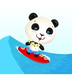 Little cute surfing panda on blue wave vector image vector image