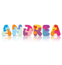 ANDREA written with alphabet puzzle vector
