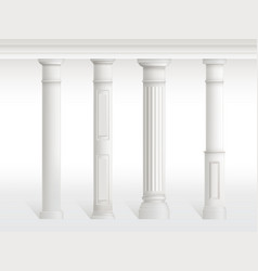 antique columns set figured pillars balustrade vector image