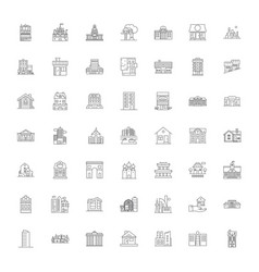 architectural houses linear icons signs symbols vector image