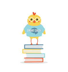 Baby chicken character standing on pile of books vector