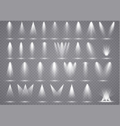 big set spotlights lighting transparent effects vector image