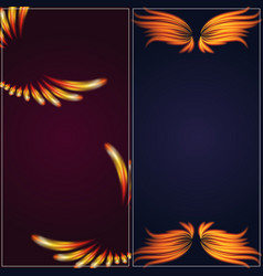 Bird fire wings fantasy banner feather burning fly vector