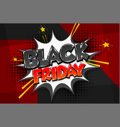 black friday sale tag comic text speech bubble vector image