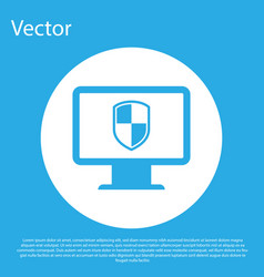 Blue computer monitor and shield icon isolated on vector
