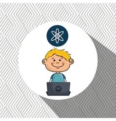 Boy atom laptop idea vector