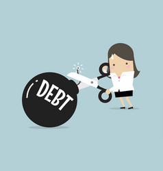 businesswoman cutting debt bomb vector image