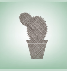 cactus sign brown flax icon vector image