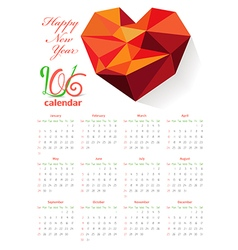 Calendar 2016 with geometrical heart vector image