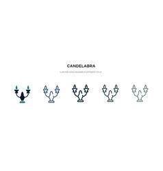 Candelabra icon in different style two colored vector