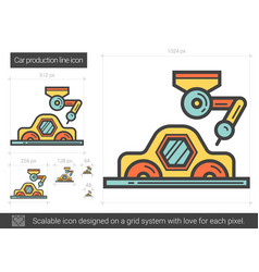 Car production line icon vector
