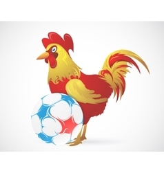 Cartoon Rooster as symbol of France with ball vector image
