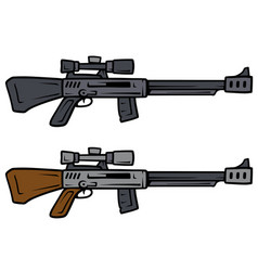 Cartoon sniper rifles weapon icons vector
