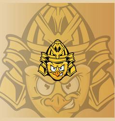 chicken samurai mascot logo vector image