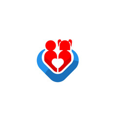 children love care icon logo vector image