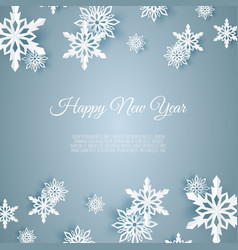 christmas card with paper snow flake falling vector image