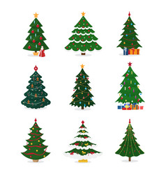 Christmas new year tree icons with ornament vector