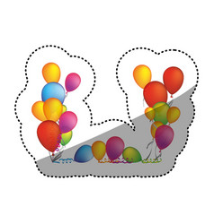 Colored party balloon with serpentine icon vector