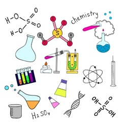 Colorful sketch of science doddle elements vector