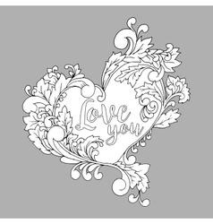Coloring book page with decorative heart on the vector