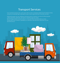 Covered truck and lorry with furniture poster vector